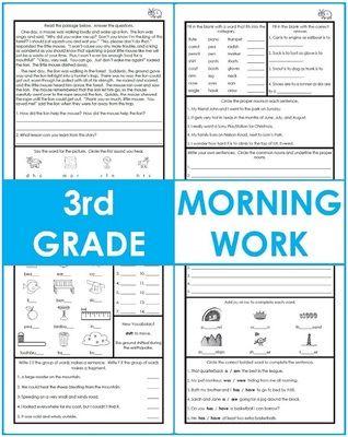 photo regarding 3rd Grade Morning Work Printable identified as Pin upon reading through