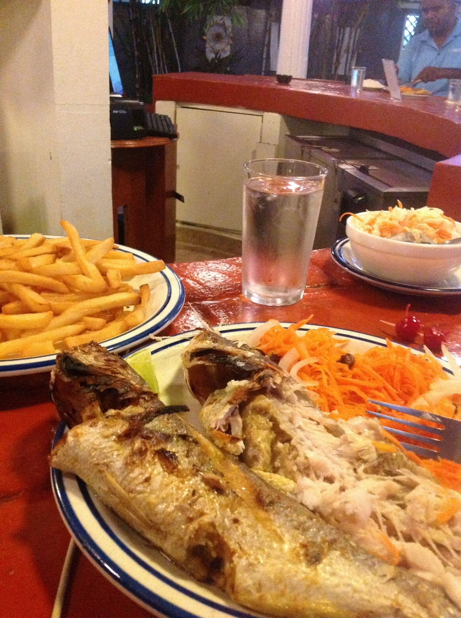 Fish, fries and salad.