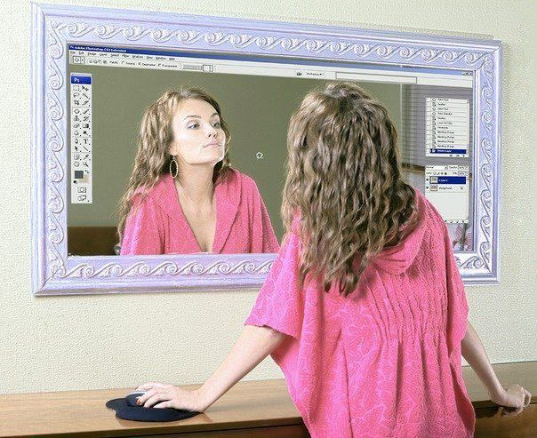 Ya les gustaria a muchas chicas tener un espejo con las funciones de  #photoshop