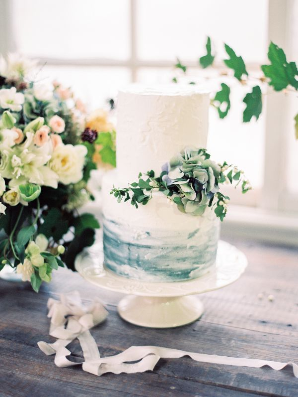 Serenity Blue Wedding Inspiration Watercolor Wedding Cake