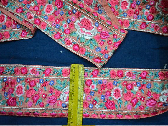 Wholesale Silk Indian Sari Border Embroidered Ribbon Trims