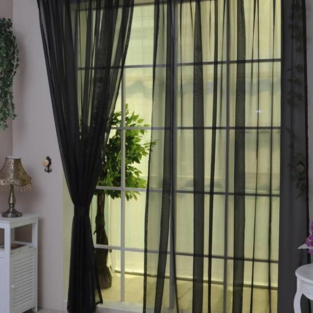 100x200cm Elegant Door Window Curtain Drape Panel Sheer Voile Valance Black
