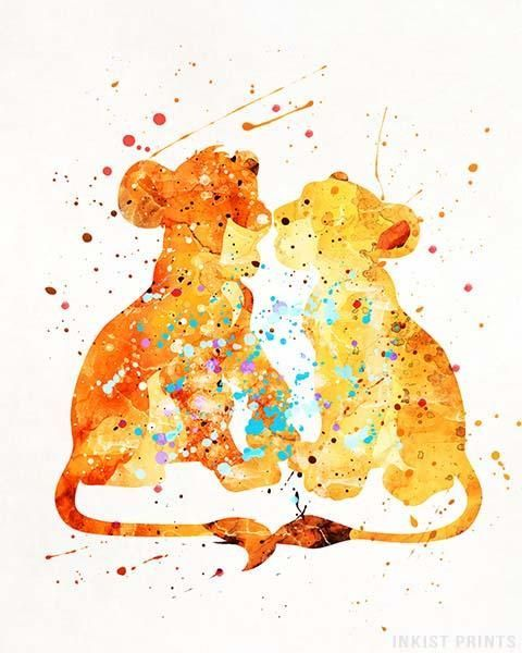 B /& W Disney Lion King ART PRINT Simba and Nala Quote Wall Art Nursery Gift