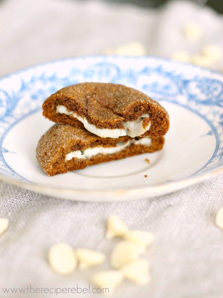 Hazelnut White Chocolate Truffle Stuffed Gingersnaps -- perfect for fall! www.thereciperebel.com #desserts #dessertrecipes #yummy #delicious #food #sweet