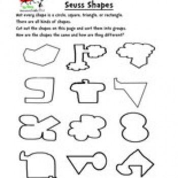 Dr. Seuss Shapes Worksheet | Shapes worksheets, Worksheets and School