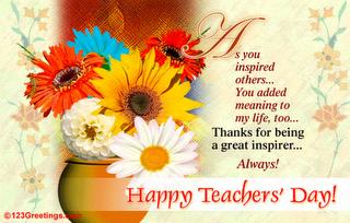 Teacher Appreciation Flowers Teachers Day Card Teachers Day Wishes Happy Teachers Day Message