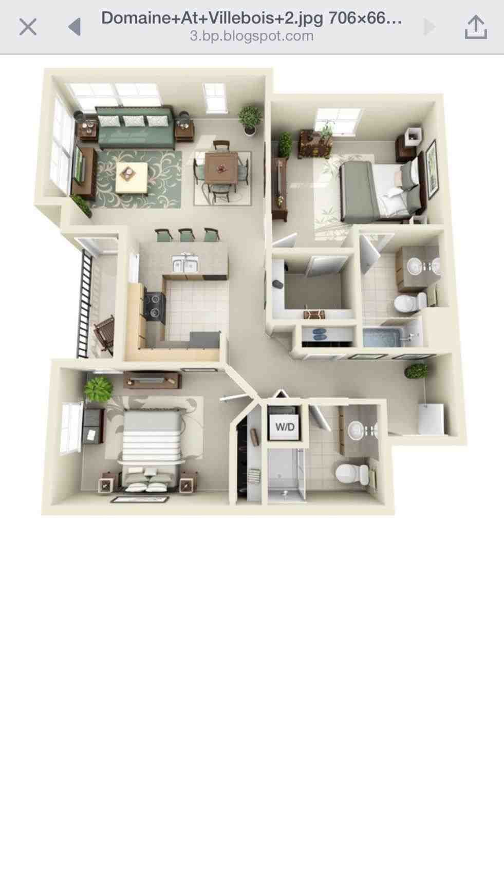 2 Bedroom Apartment Floor Plan 3d One Bedroom Apartments 3d Floor Plan Studi 2 Bedroom Apartment Floor Plan Studio Apartment Floor Plans Apartment Floor Plan