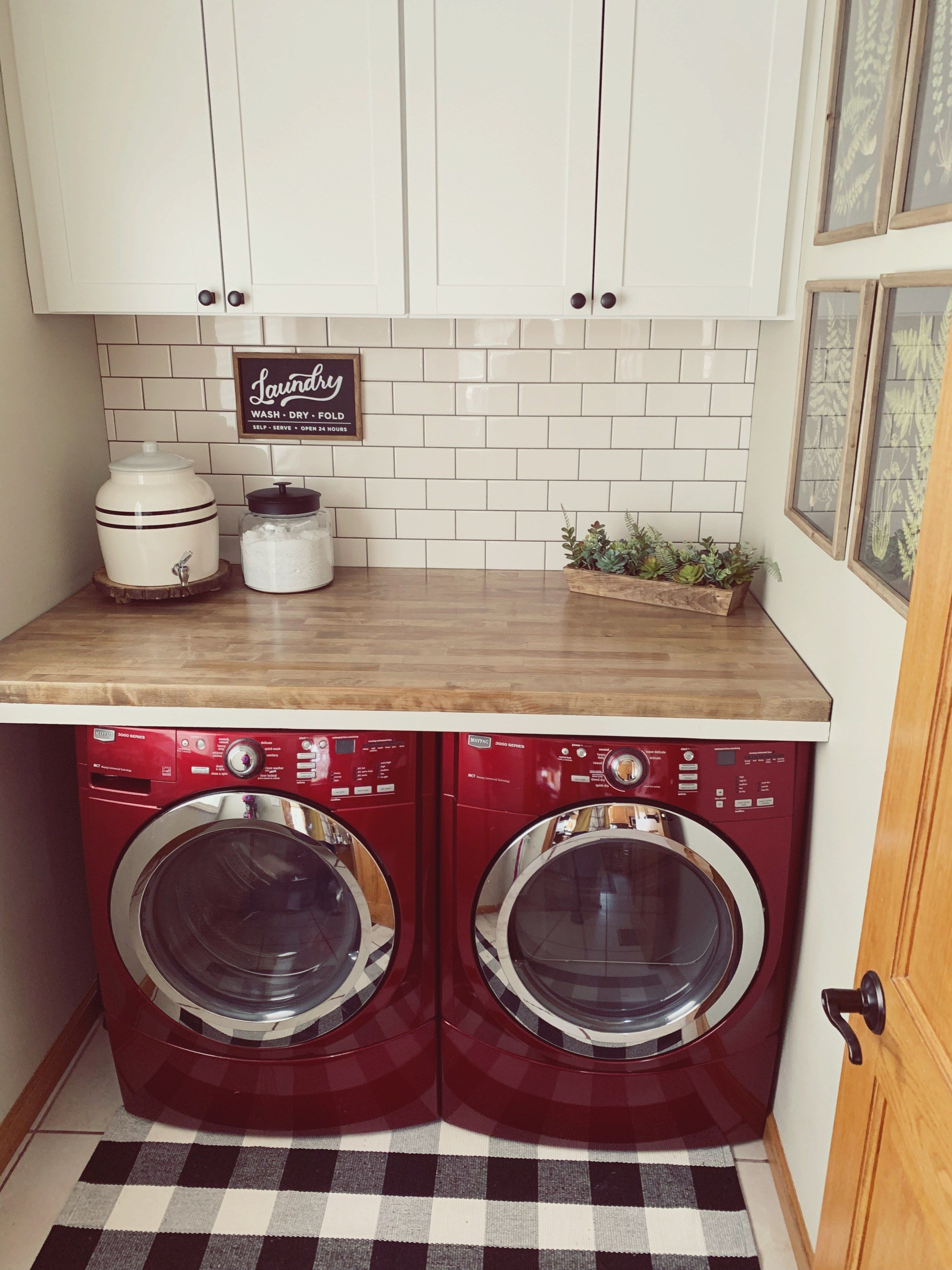 Laundry Room Makeover Reveal The Hamm Homestead Laundry Room Makeover Laundry Room Decor Red Laundry Rooms