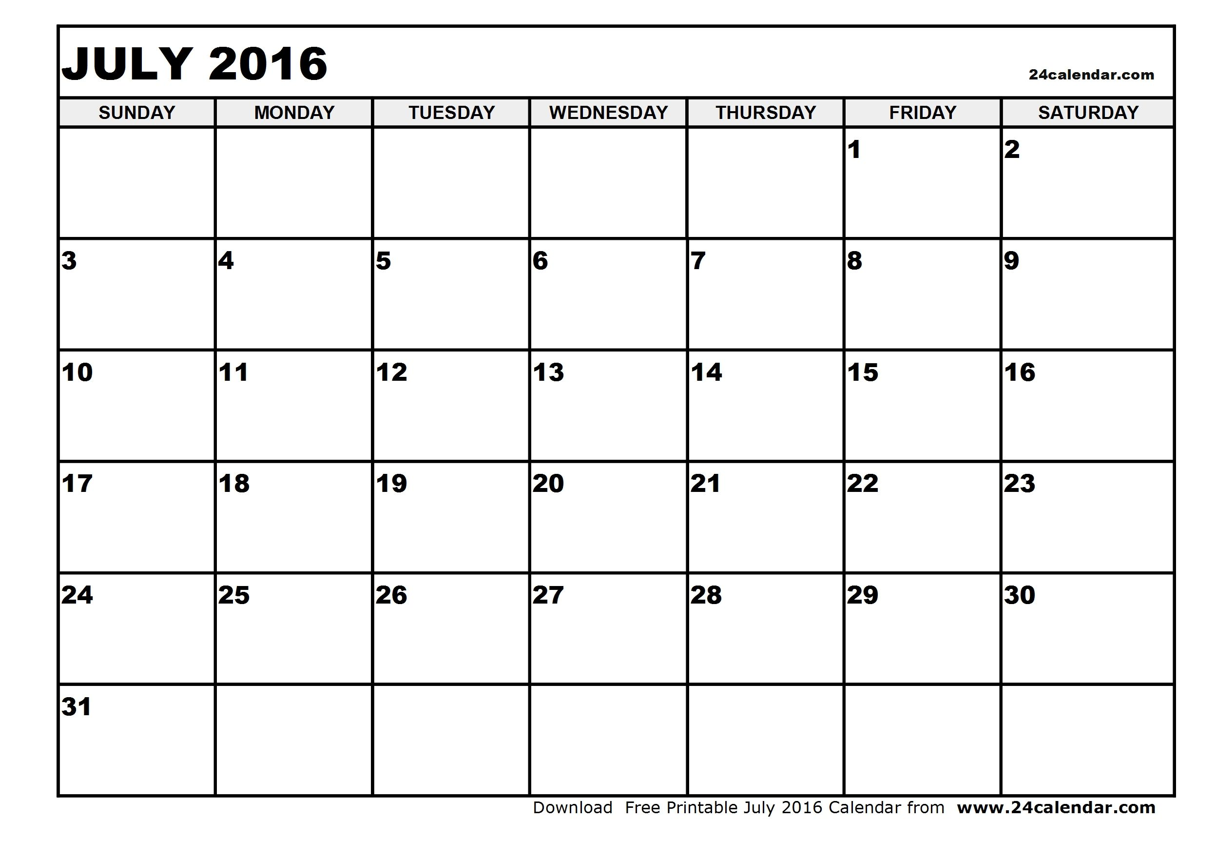Calendar Of July Printable