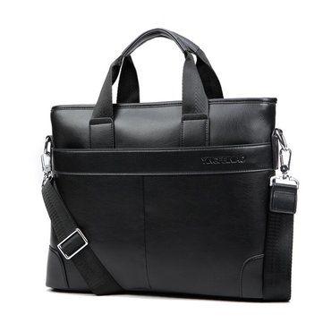 Men PU Business Casual Black Brown Shoulder Messenger Bag Handbag - US$34.02