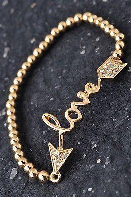 Bracelet Stretch Gold Love Rhinestone Arrow Beaded Elastic Word New Fashion