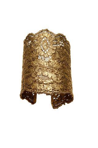 aurélie bidermann hammered gold floral design cuff