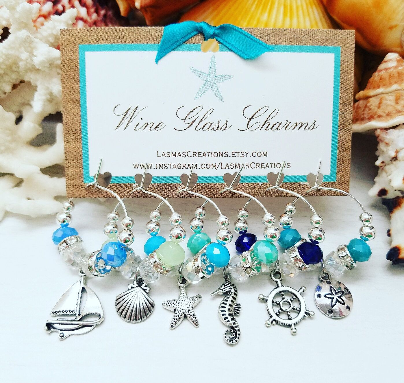 Ballet Themed Wine Glass Charms Set of 6 Silvertone