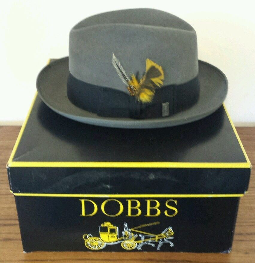 a6329ad7c1b27 VTG Dobbs New York The Whip Men s Fur Felt Fedora Hat Saber Grey Size 7 1 4  Box  Fedora