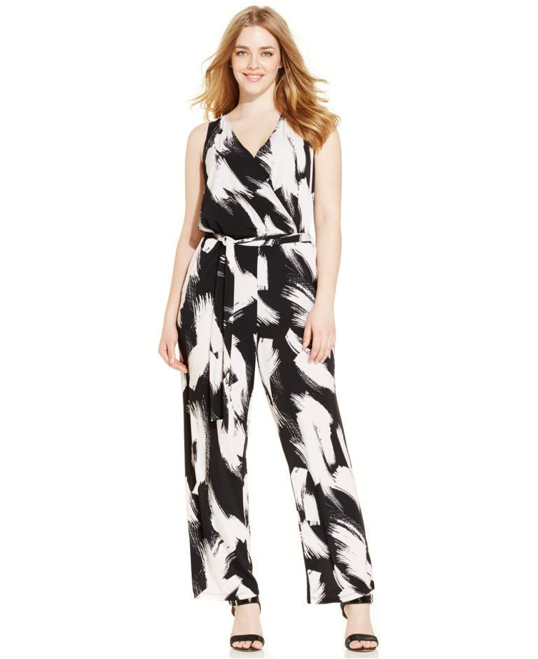 40e44908d4c NY COLLECTION PLUS SIZE SLEEVELESS PRINTED 2X BLK WHITE JUMPSUIT FROM MACY S   NYCOLLECTION  Jumpsuit