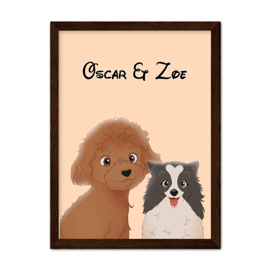 Cartoon: Custom Two Pet Portrait - A1 / Dark Brown Frame