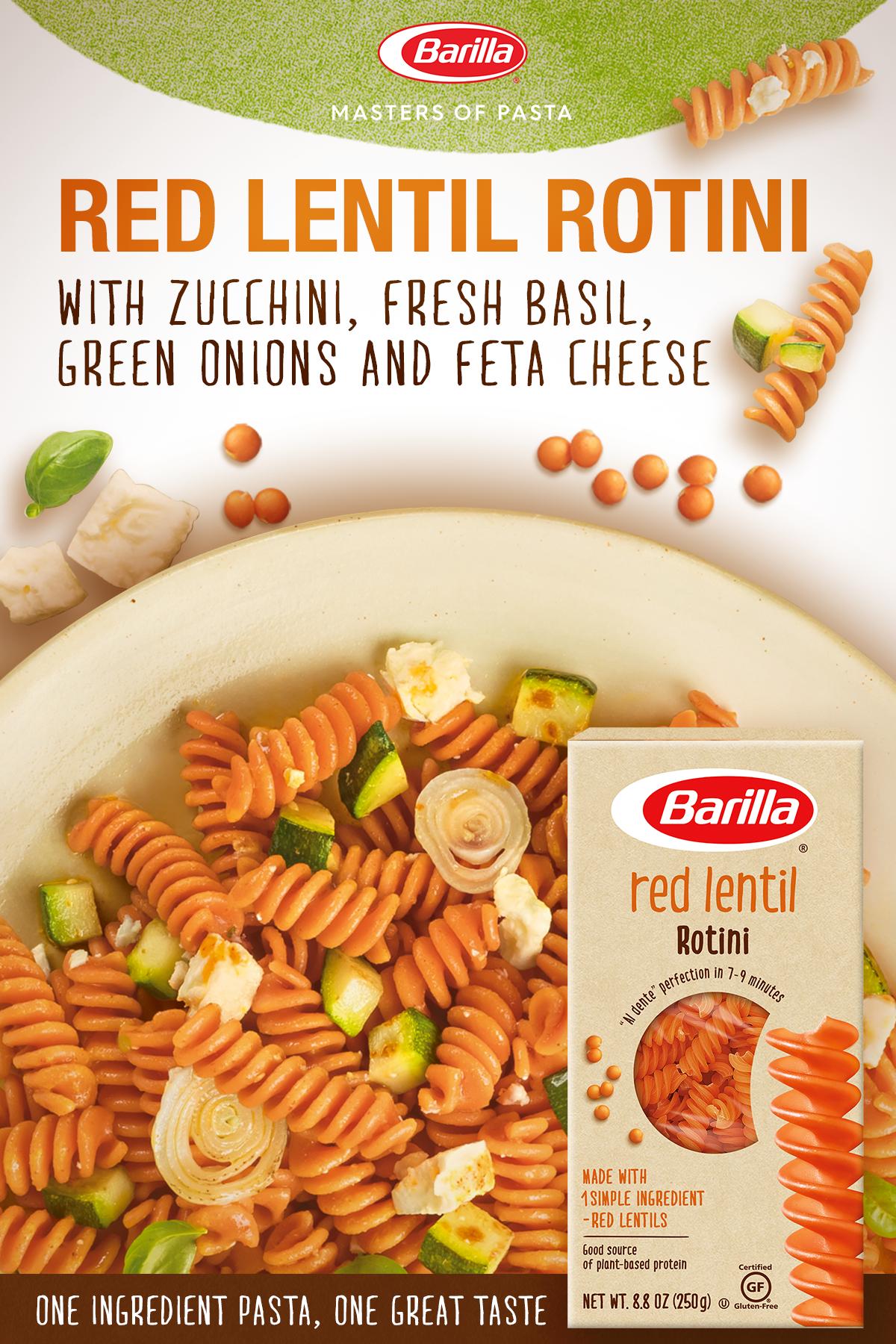 Barilla Red Lentil Rotini Salad With Zucchini Fresh Basil Green Onions Feta Cheese Recipe Vegetarian Recipes Recipes Vegetarian Pasta Recipes