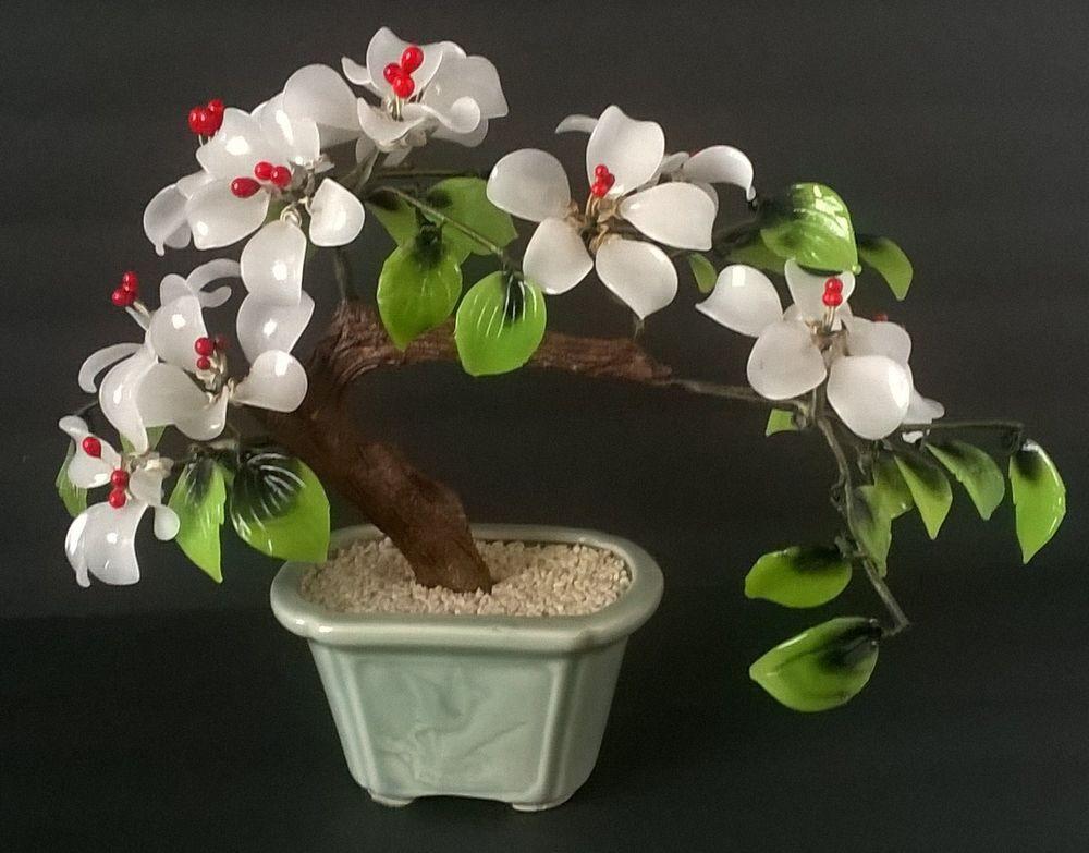Beautiful Vintage Oriental Asian Bonsai Tree Agate Glass Cherry Blossom Flowers Bonsai Tree Cherry Blossom Flowers Tree Agate