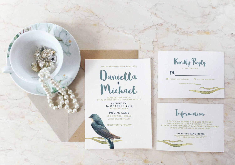 Printable wedding invitation suite watercolour blue bird wedding