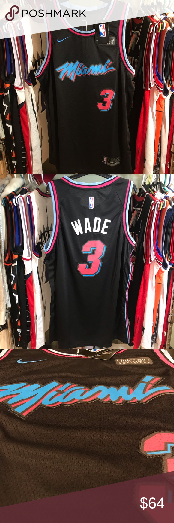 Miami Heat D Wade Vice City Night Edition Jersey Brand New With Tags Miami Heat Vice City Night Edition Nike Swingman Dry Vintage Champion Brand Tags Mens Xl