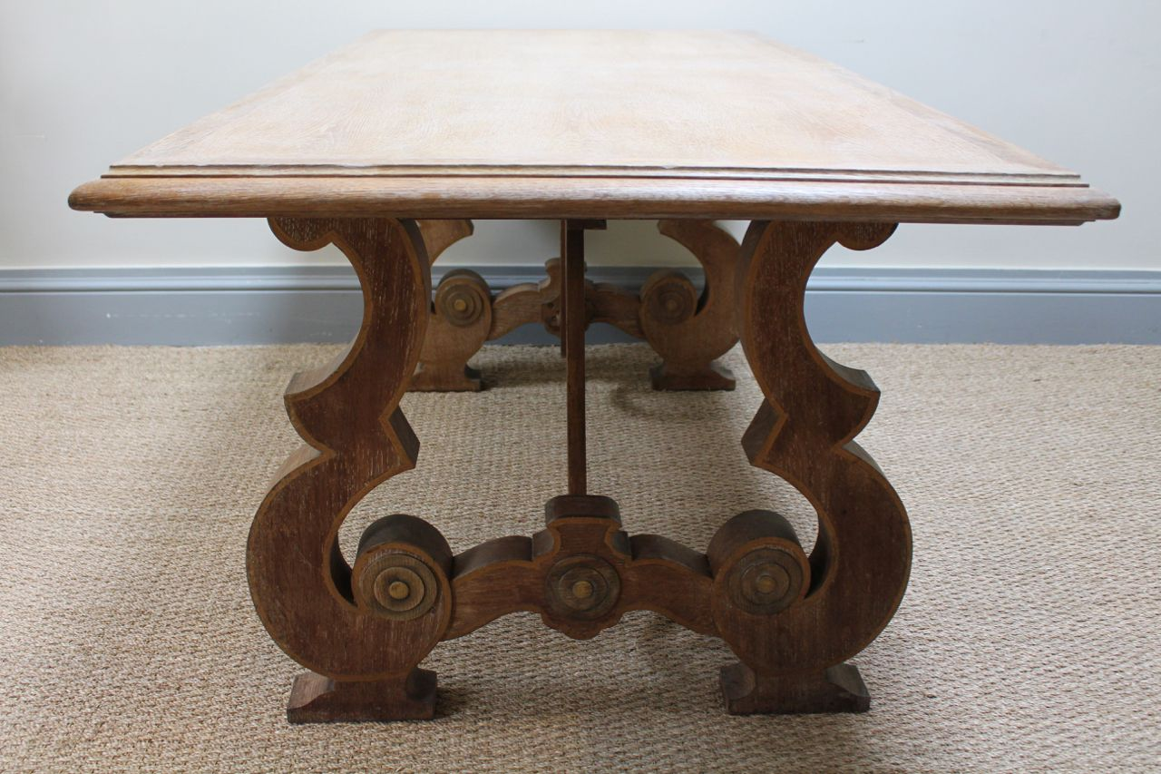 Circa 1930s French Limed Oak Dining Table   Furniture