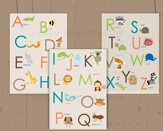ABC Animal Nursery Art Prints  11x14  Inches