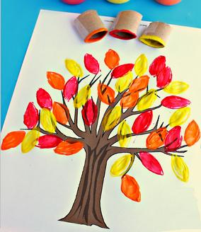 Arbre d 39 automne avec papier toilette art visuel - Dessiner un arbre d automne ...