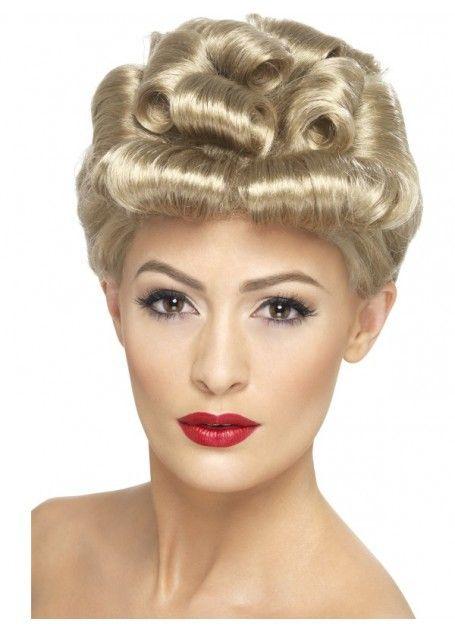 Ladies Retro 1940s Sweetheart Wig One Size Fancy Dress Costume Accessory