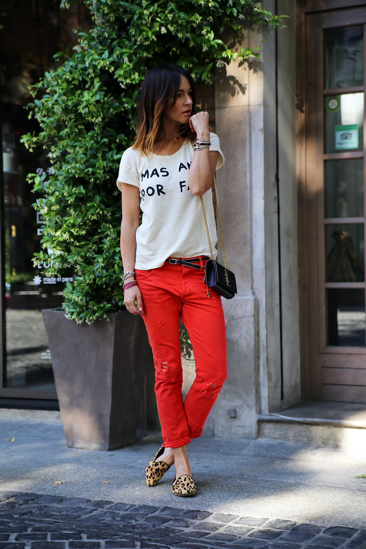 Cherry Red Jeans & Leopard Loafers | Silkdrops