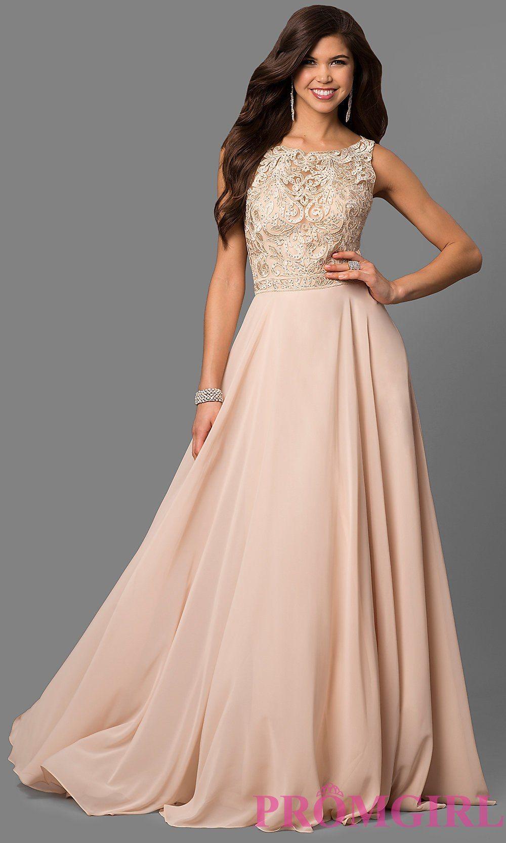 Bateau Neck Embellished Bodice Long Prom Dress