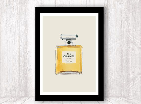 00497bdee81e Coco Chanel No. 5 parfume bottle - art poster print painting - gray or  pink. $21.00, via Etsy.
