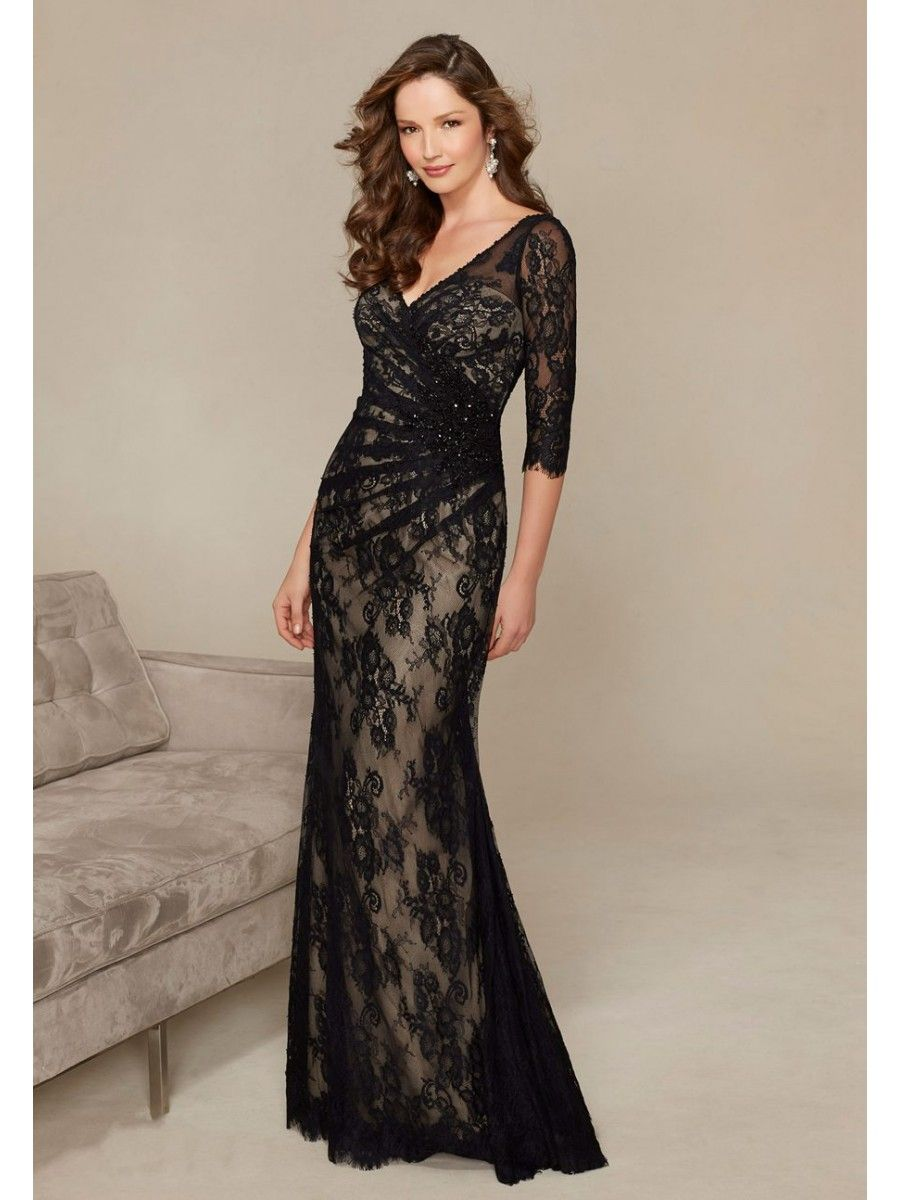 Mermaid sleeves vneck long lace mother of the bride dresses