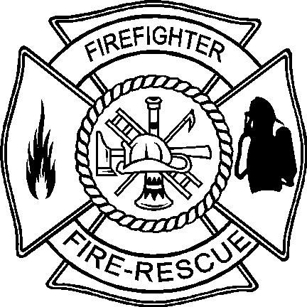 Black And White Firefighter Logo Sketch Coloring Page