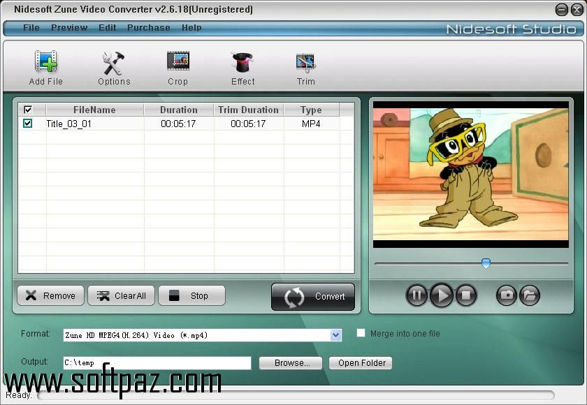 Get the Zune Movie Converter software for windows for free - filename for resume