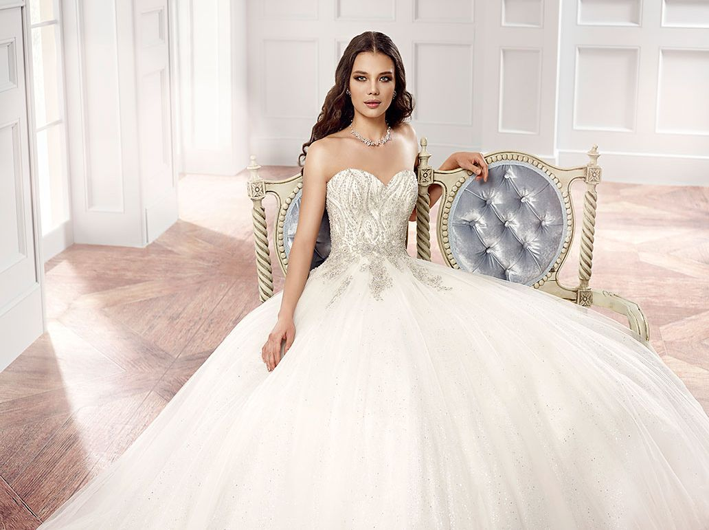 White and silver wedding dresses  Couture Style CT Dazzling ball gown with all the sparkle a