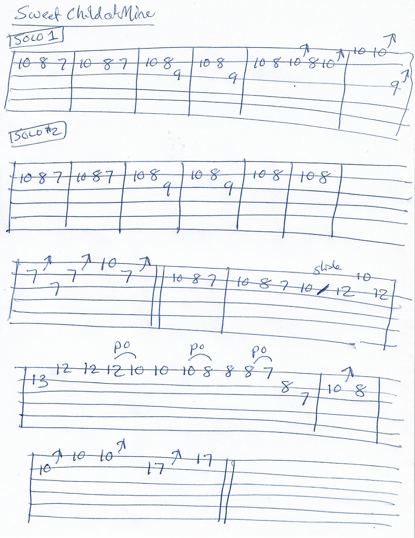 Sweet Child Of Mine Guns And Roses Guitar Solo Tab Solo 1 And