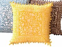 Tilonia Home: Decorative Pillow Cover - Buttercup Floral With Ball Fringe