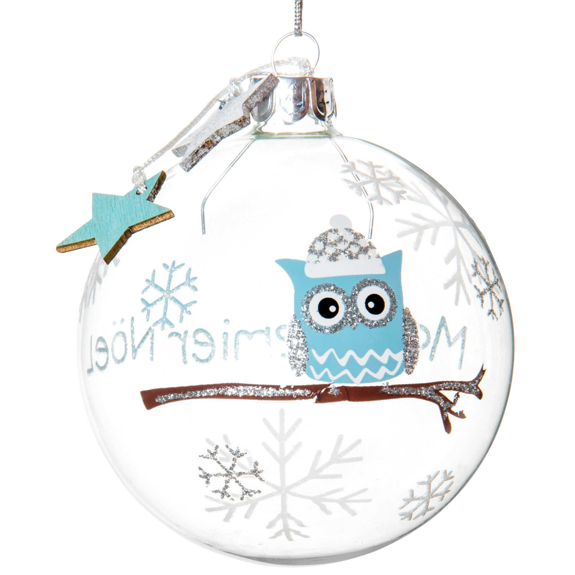 Pallina di Natale trasparente blu in vetro 8 cm BABY CHOUETTE