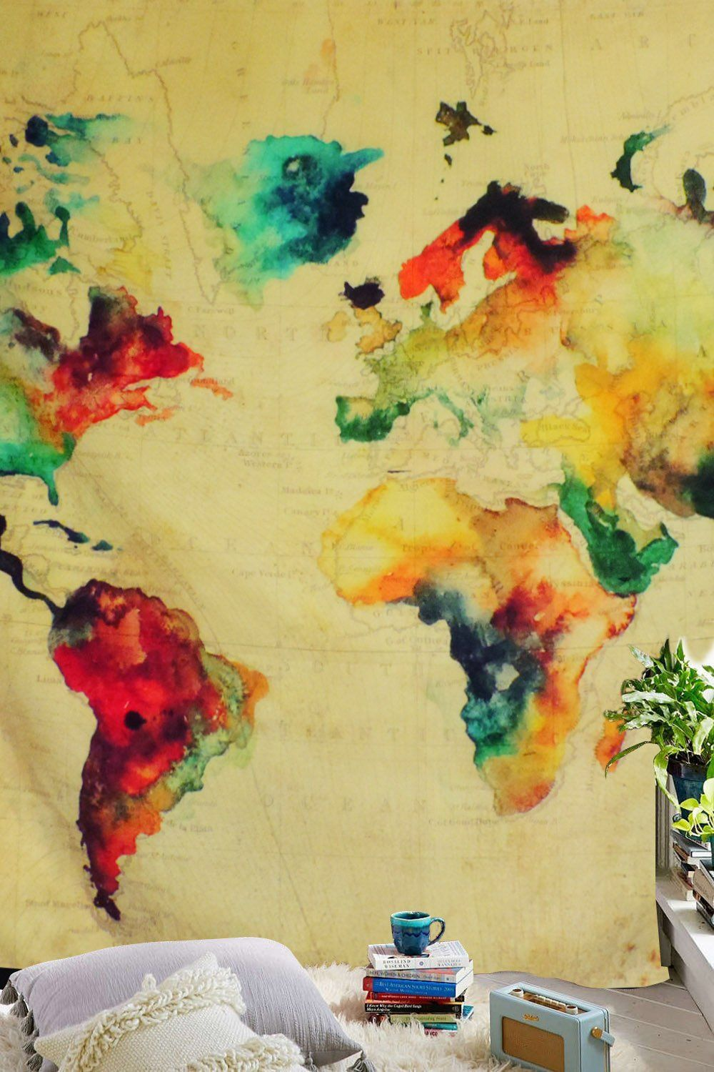 Sunm Boutique Retro Watercolor World Map Tapestry Colorful Map