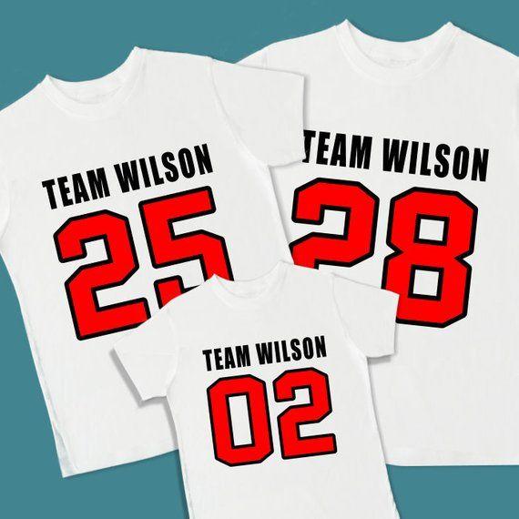 98df2fc6931 Family Team Jerseys. Family Team Shirts. Set of 3 Personalized T Shirts.   Dad Mom Football Baseball