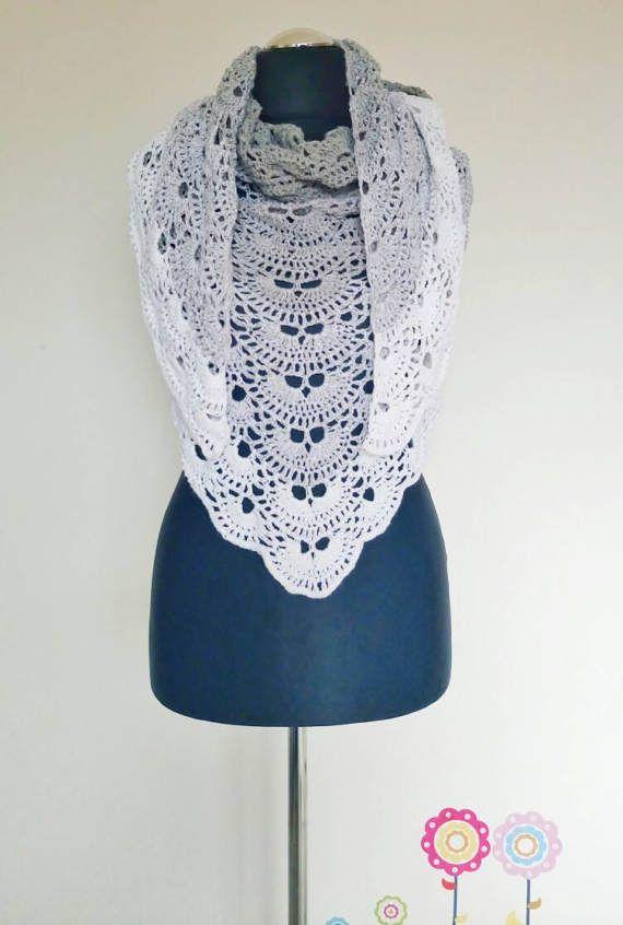 Grey ombre virus shawl - crochet shawl - crochet cover up - crochet ...