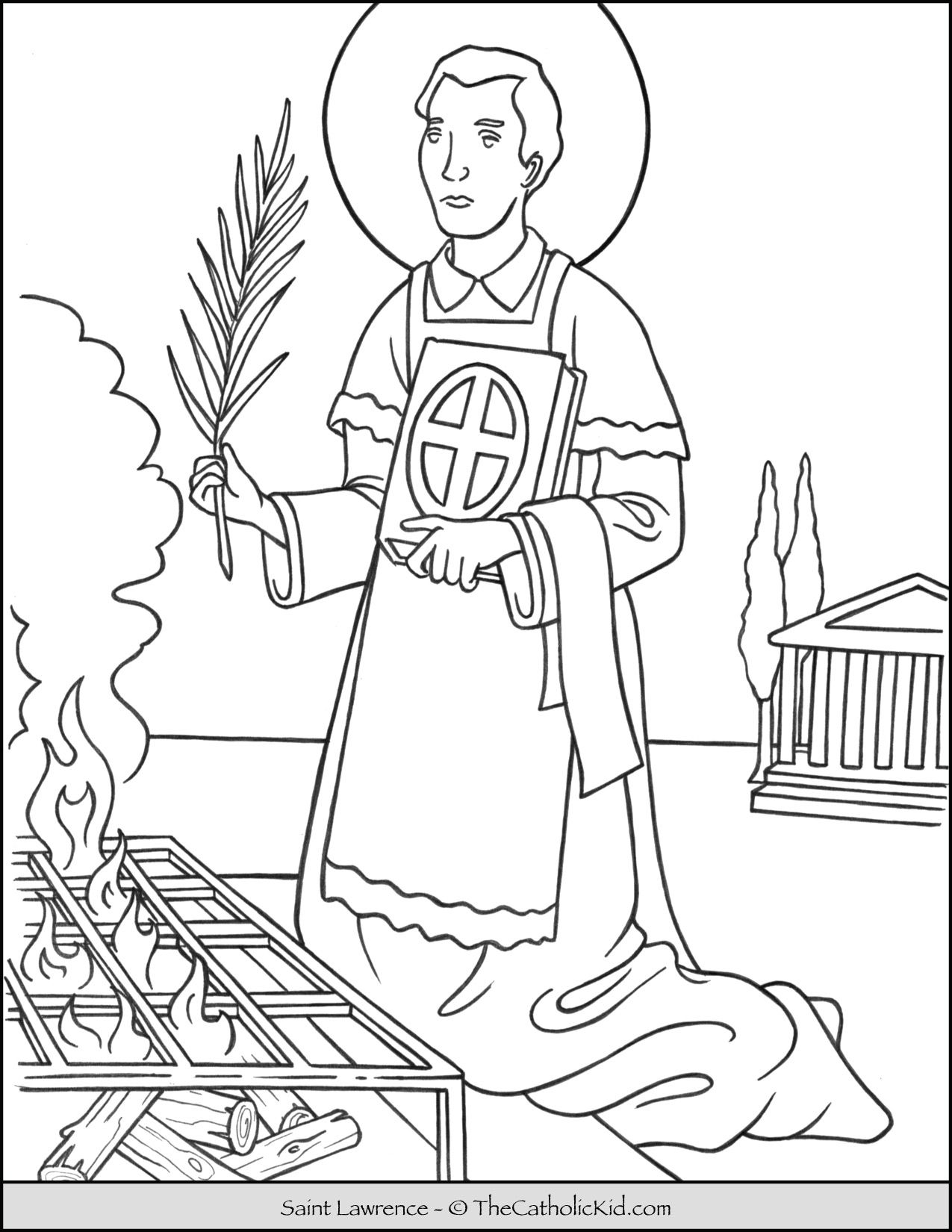 Saint Lawrence Coloring Page Thecatholickid Com Coloring Pages Catholic Coloring Cat Coloring Page