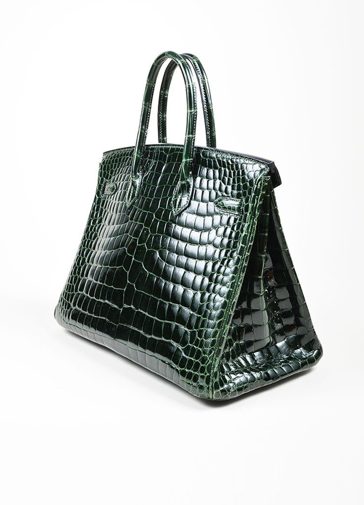 492113e8e Dark Green Hermes Crocodile Porosus Shiny Leather