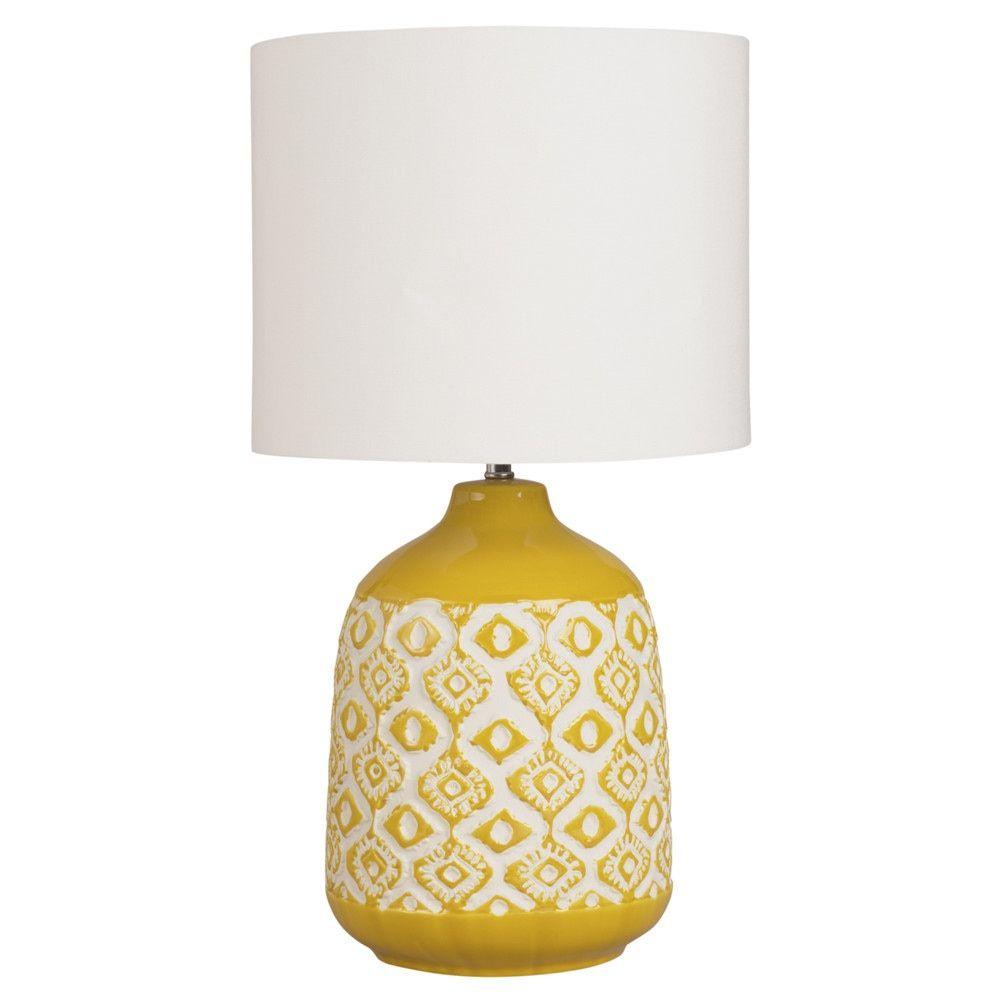 Lampe En Ceramique Jaune Moutarde Et Abat Jour Ecru Maisons Du