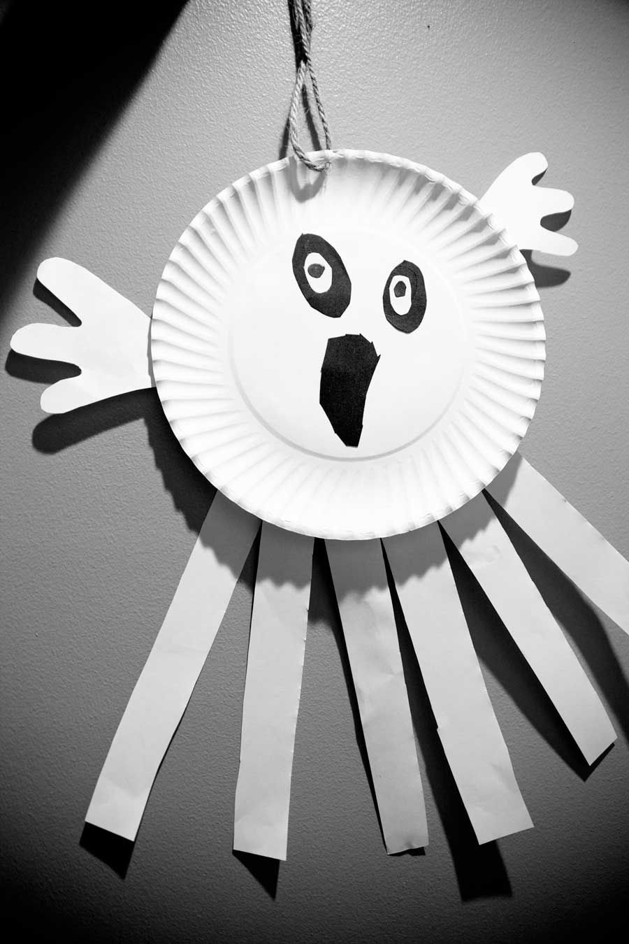 Halloween Craft Paper Plate Ghost Decorations Feature White Color Halloween Craft Design And Black & Decorations. Halloween Craft Paper Plate Ghost Decorations Feature ...