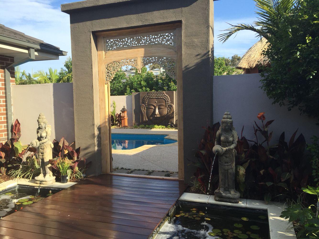 Balinese garden design teak doors bali style home for Balinese garden design