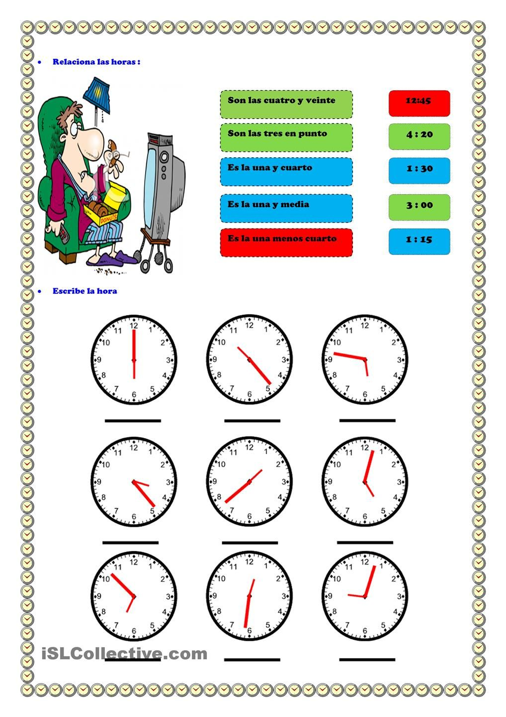 Worksheets La Hora Worksheet la hora es pinterest worksheets hora