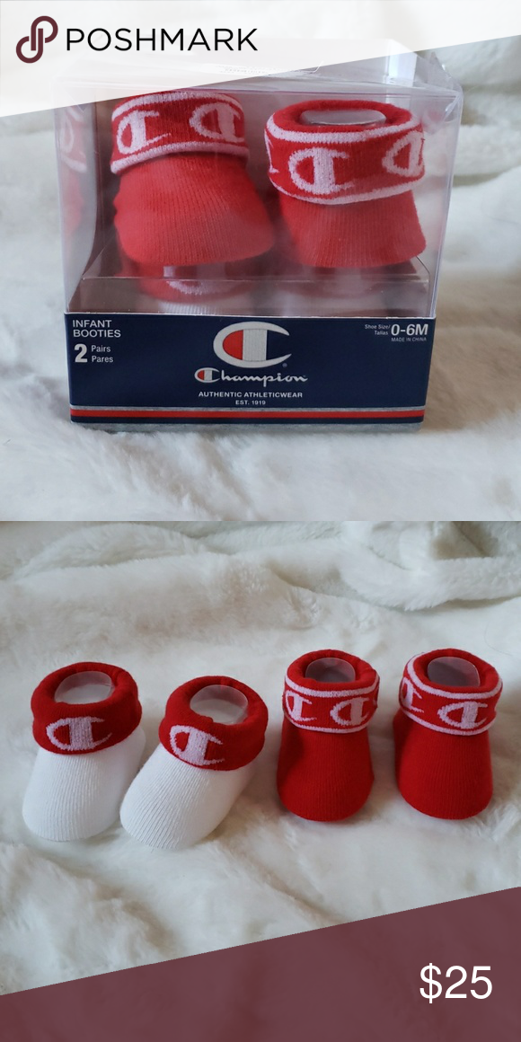 49e652bddad6 CHAMPION Red White Infant Booties 0-6 Months NEW New in box! Champion  Accessories Socks & Tights
