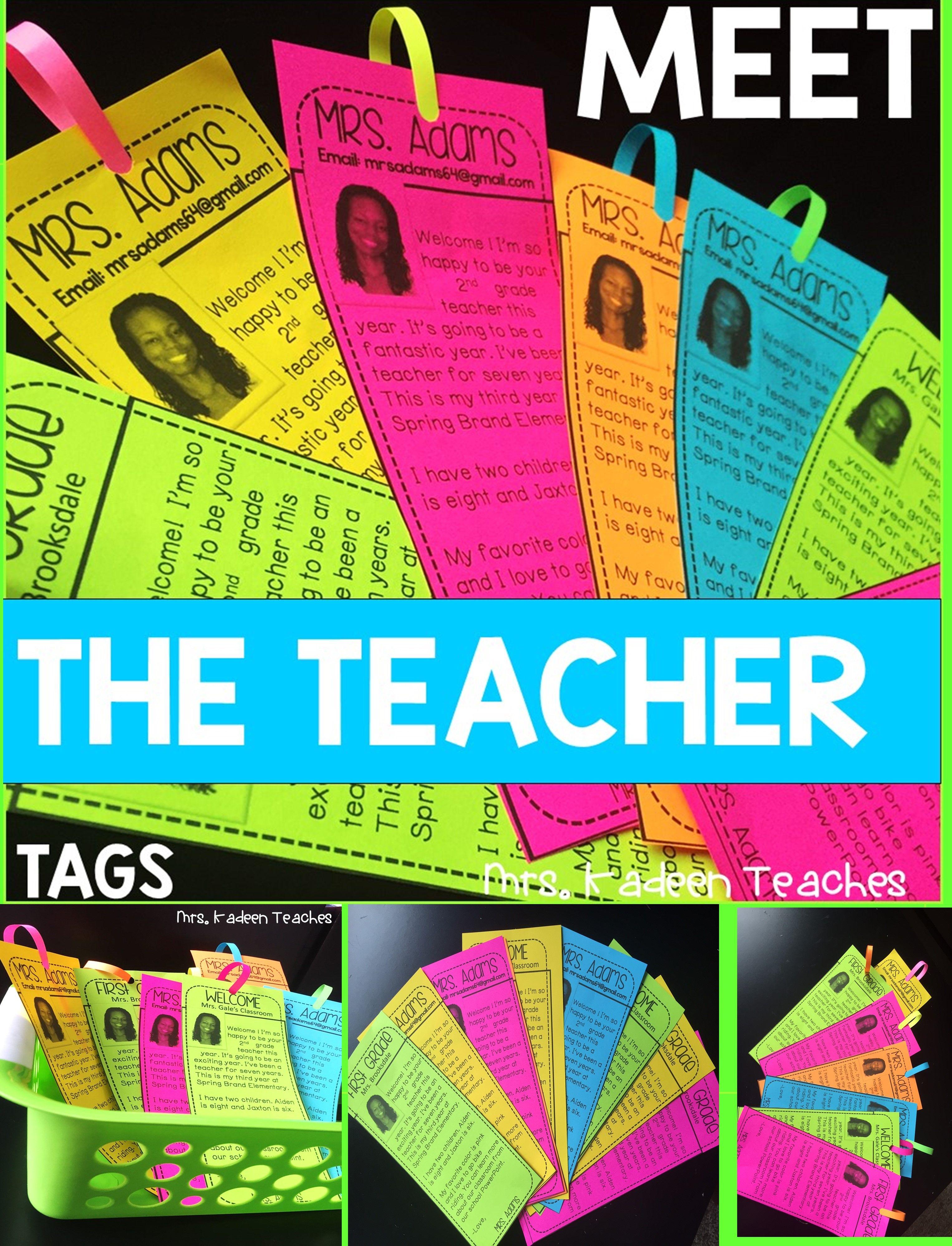 Meet the Teacher-Tags #meettheteacherideas