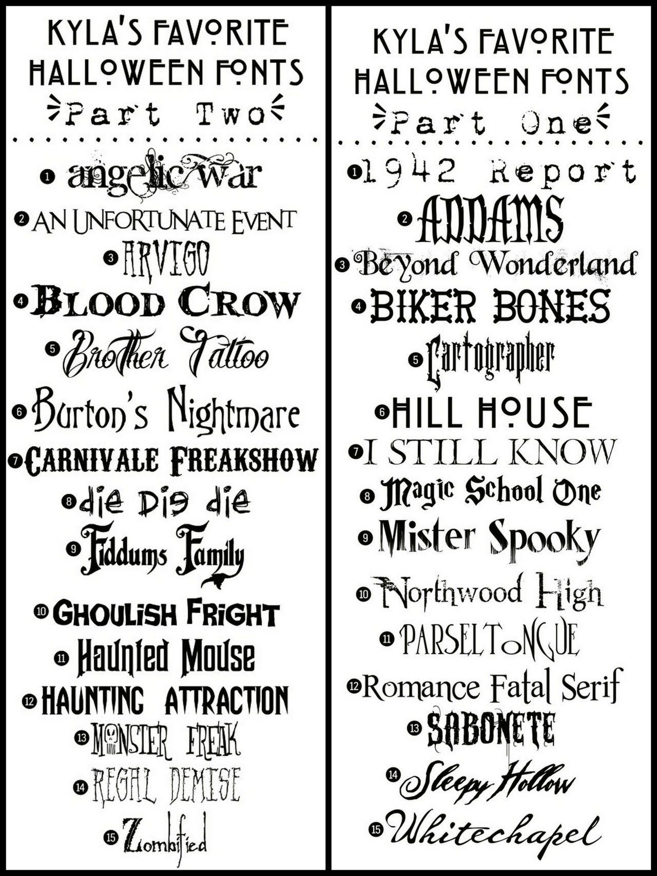 "truebluemeandyou: "" DIY 30 Halloween Free Fonts from Funky Polkadot"